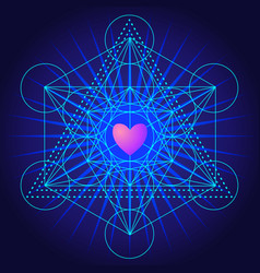 Metatrons cube flower life with heart sacred vector