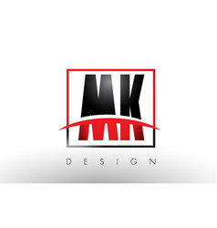 Mk m k logo letters with red and black colors and vector