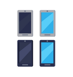 modern cellphones flat icons set vector image