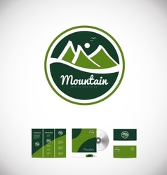 Mountain drawing logo badge icon design vector