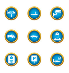 Paid parking icons set flat style vector