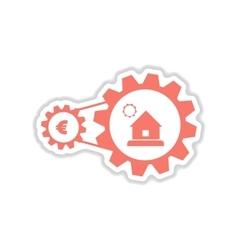 Paper sticker on white background house money vector