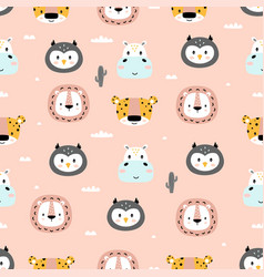 Pattern with cartoon tropical animals on pink vector