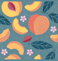 peach seamless pattern leaves flowers vector image