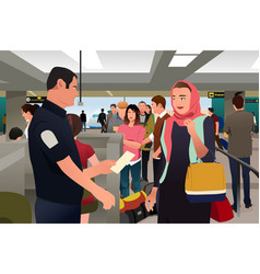 People being checked by custom in the airport vector