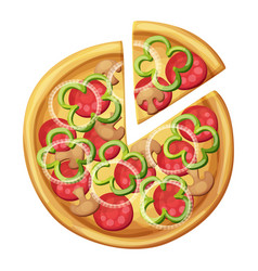 pizza top view green sweet pepper sausages vector image