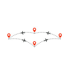 plane flight to different places infographic vector image