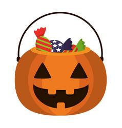 Pumpkin with candies cartoon vector