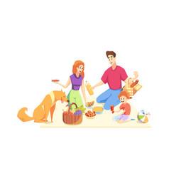 rest picnic family fatherhood motherhood vector image