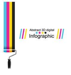 roller paint cmyk color print vector image