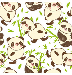 seamless pattern with cute animal panda and bamboo vector image