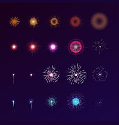 Set fireworks bursting in sky collection of vector