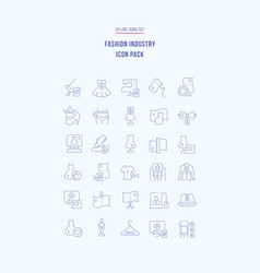 Set linear icons fashion industry vector