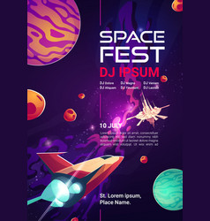 Space fest cartoon banner music show or concert vector
