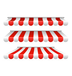Striped white and red sunshade for cafe shop vector