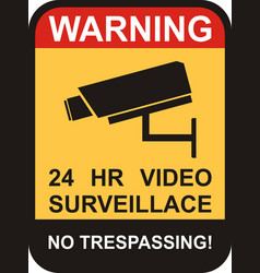 surveillance and cctv camera yellow signs vector image