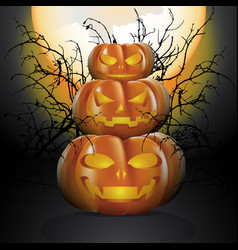 Three halloween pumpkins vector