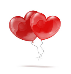Two 3d Red Heart Balloons vector