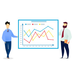 two men presenting graphics on meeting manager vector image