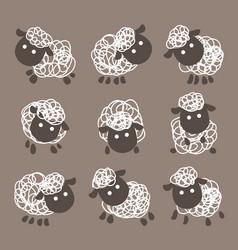 Variety cute sheep set vector