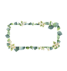 Watercolor frame with green eucalyptus vector