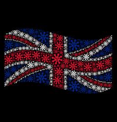 Waving british flag pattern of virus icons vector