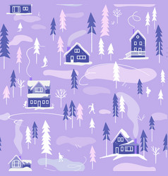 winter snowy landscape with houses trees vector image