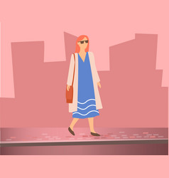 woman walking on street silhouettes buildings vector image