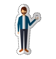 Young man with smartphone avatar character vector