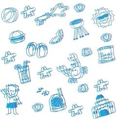 Blue beach doodle art vector image vector image