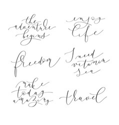 set of 6 hand written lettering positive quotes vector image