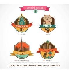World Cities labels - Marrakesh Tokio Astana Dubai vector image vector image