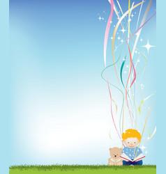 boy reading magic vector image vector image
