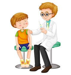 Doctor giving shot to the boy vector image
