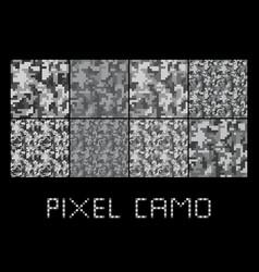 Pixel camo seamless pattern big set urban grey vector