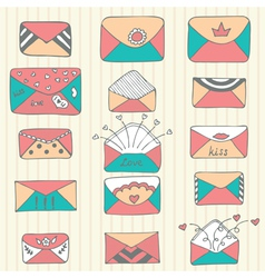 Set of hand drawn mailing envelopes Sketch style vector image vector image
