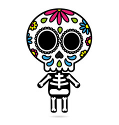 sugar skull character isolated day of the dead vector image
