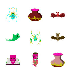 assembly flat cute bat spider book vector image vector image