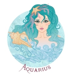 Astrological sign of Aquarius as a beautiful girl vector image