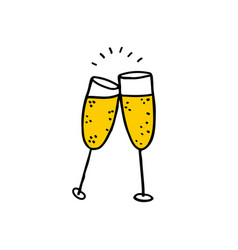 glasses of champagne doodle icon vector image vector image