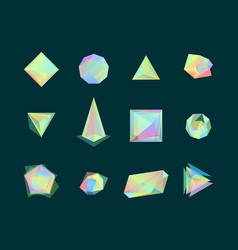 Polygonal color glass transparent shapes set vector