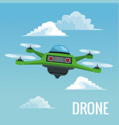 Sky landscape background robot drone with four vector