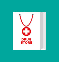 White shopping bag for medical pills and bottles vector