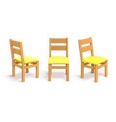 wooden chair in different position isolated vector image vector image