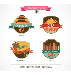 World Cities labels - Kyoto Giza Adelaide Hong vector image
