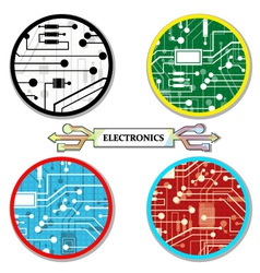electronic circuit set round-icons vector image