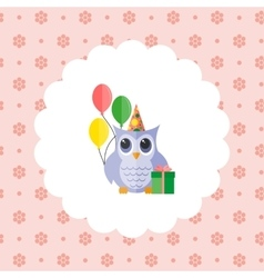 Owl in a cap with balloons and a gift vector image vector image