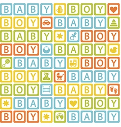 seamless pattern with blocks baby boy vector image vector image