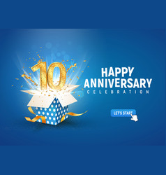 10 th years anniversary banner with open burst vector