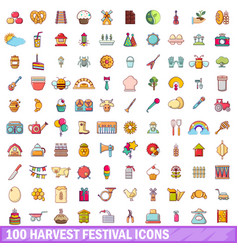 100 harvest festival icons set cartoon style vector